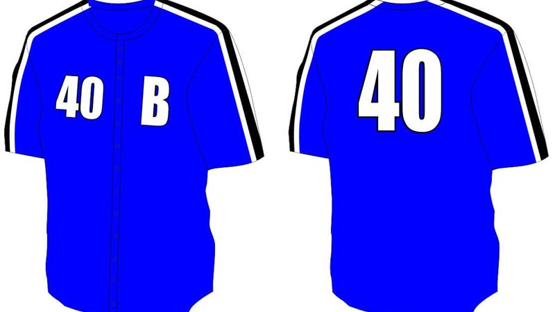blue baseball shirt