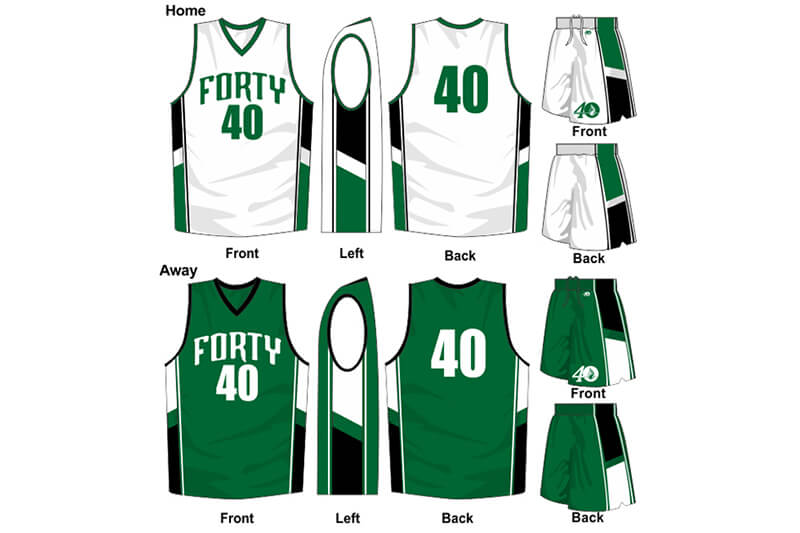 white and green uniform and green with black alternate