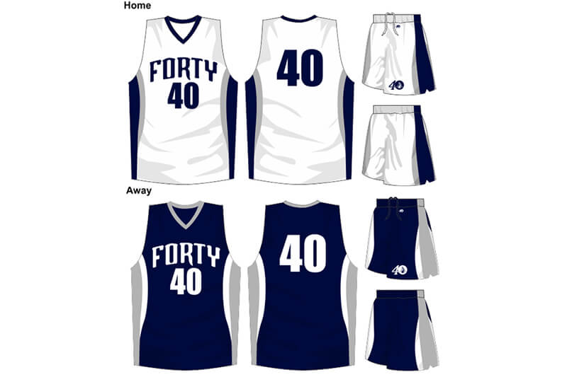 white with navy details uniform and navy with grey sides alternate