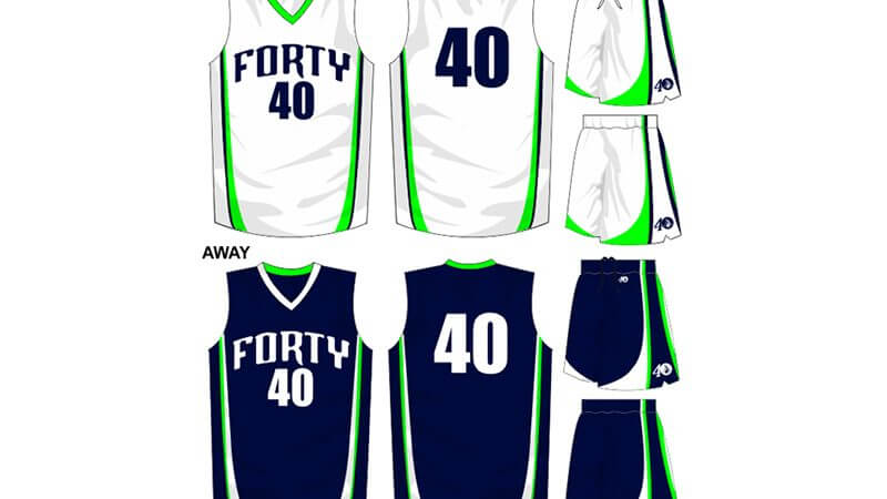 white with green details uniform, alternate is navy with green details