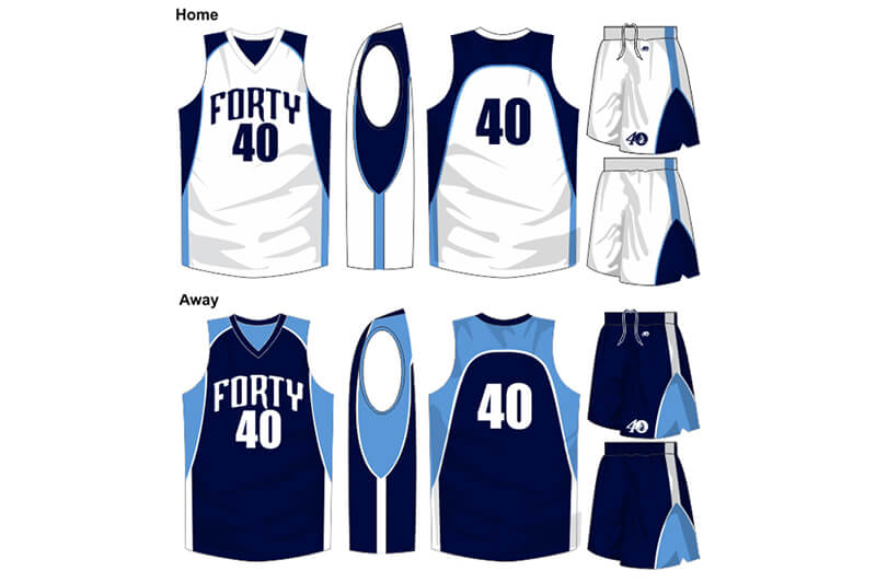 white uniform with navy shoulders, alternate is navy with light blue shoulders