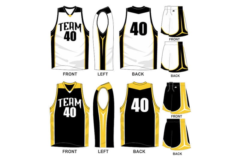 white with black sides and black with yellow side alternate