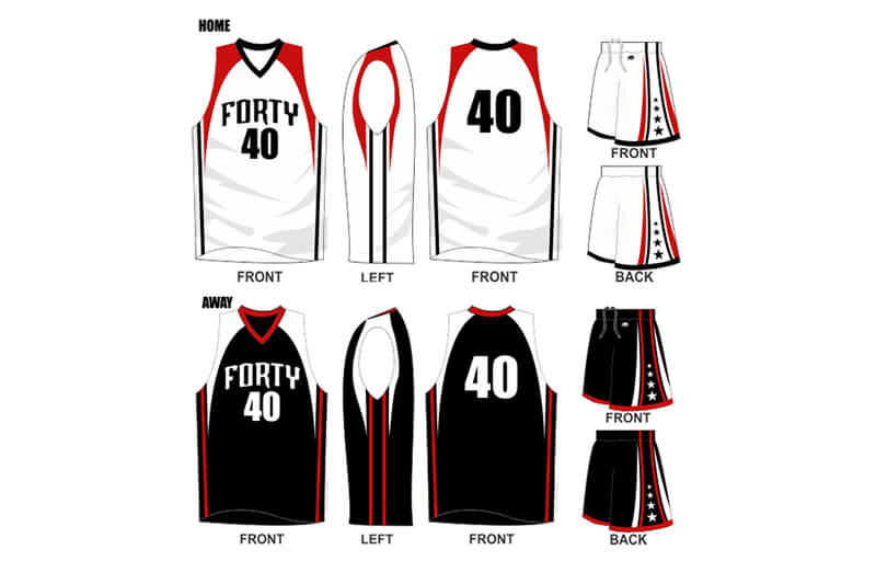 white uniform with red shoulders and black alternate with white shoulders