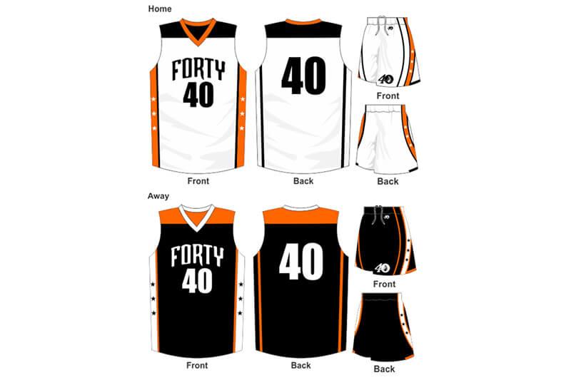 white uniform with orange details, alternate is black with orange details