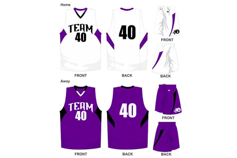 white uniform with purple alternate