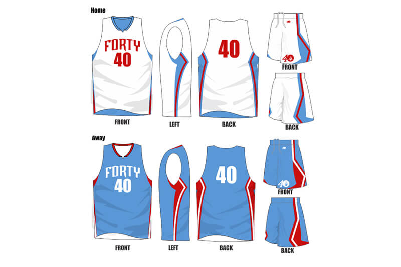 white with blue side alternate and blue with red side alternate