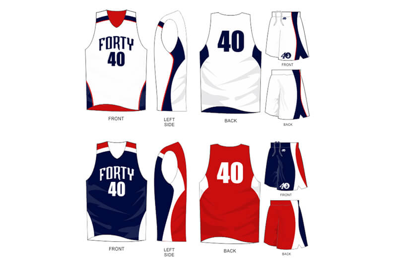 white uniform with navy and red alternate