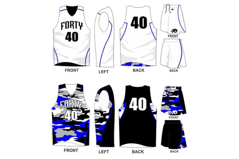 white uniform with blue camo details