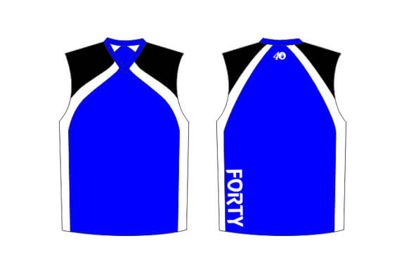 blue sleeveless jersey with white sides and black shoulders
