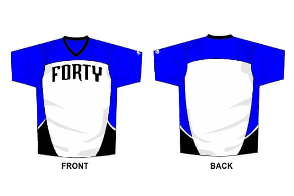 white front, black and blue side and shoulder short sleeve
