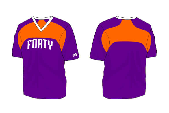 purple short sleeve with orange front and back details
