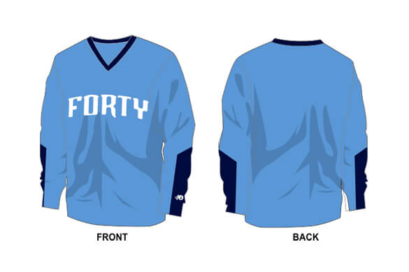 light blue long sleeve with navy sleeve details