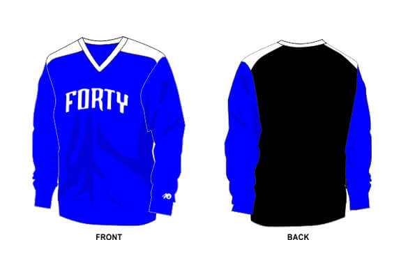 black back, blue front, and white shoulders shirt long sleeve