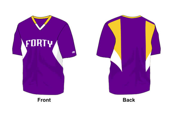 purple with yellow and white details shirt