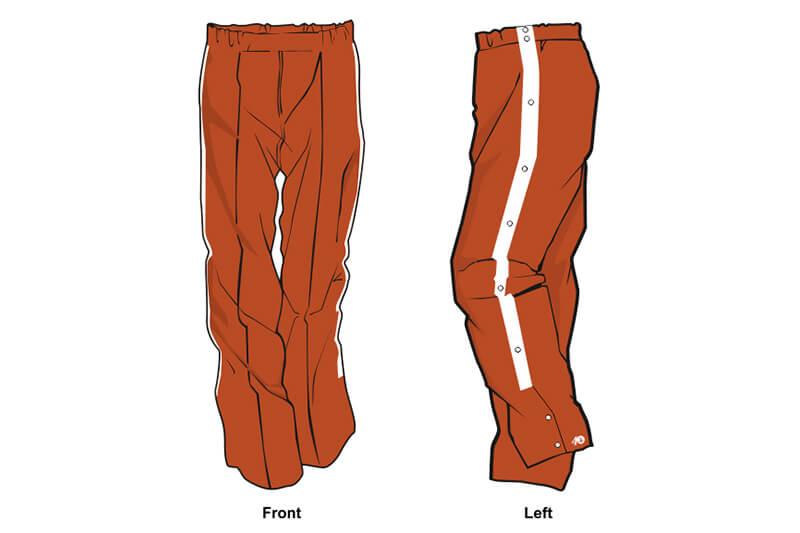 orange and white sweatpants