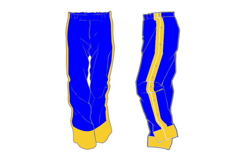 blue and yellow sweatpants