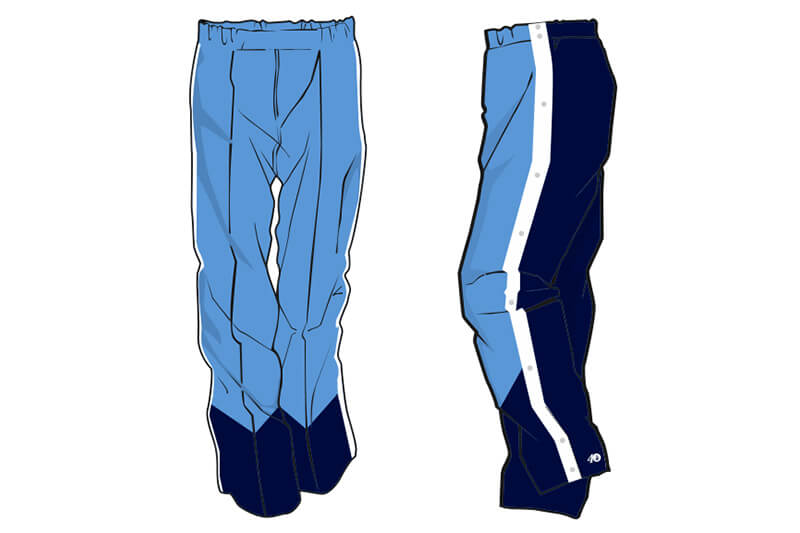 light blue in the front and navy in the back with a white stripe on the side sweatpants