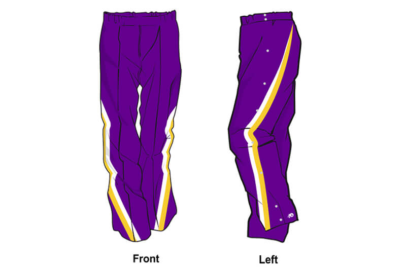 purple with white and yellow stripes