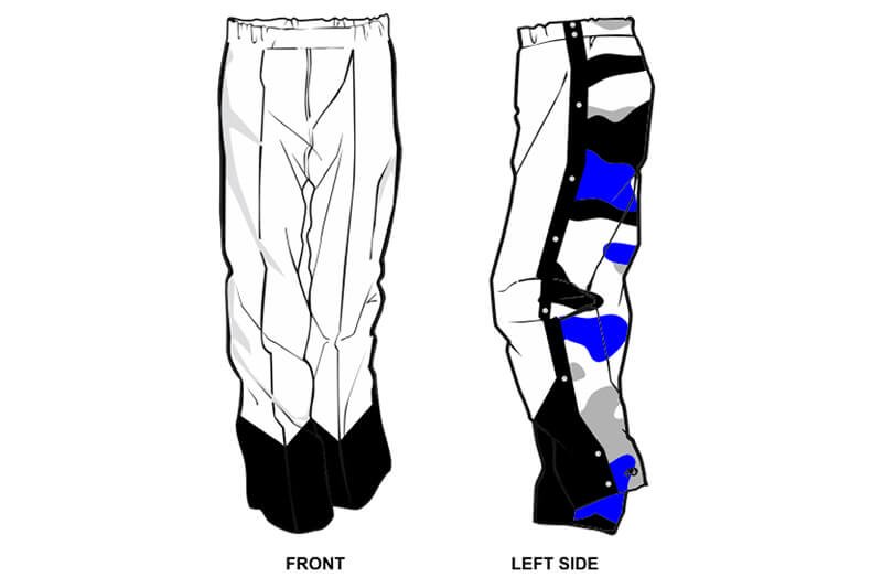 white in the front with blue and black camo in the back sweatpants