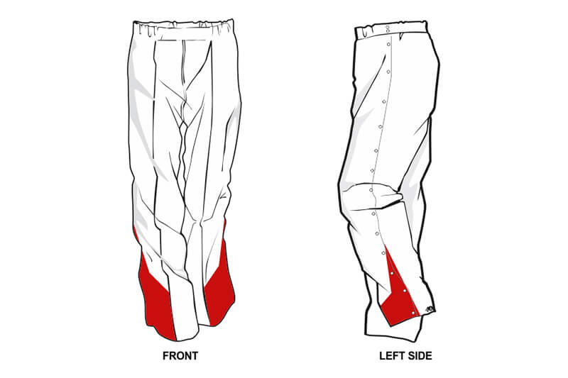 white with red detailing at the bottom sweatpants