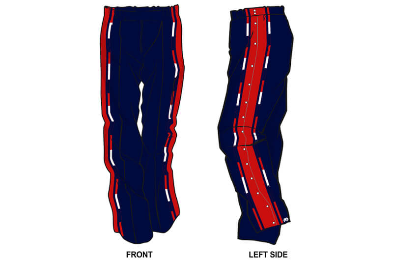 navy with red and white stripes on the side sweatpants