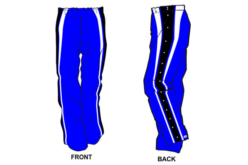 blue with white and black stripes on the side sweatpants