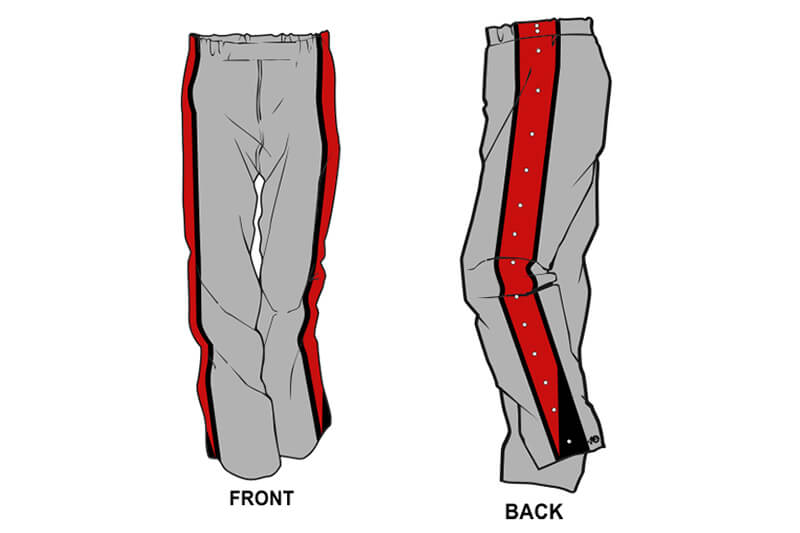 grey with red and black stripe on the side sweatpants