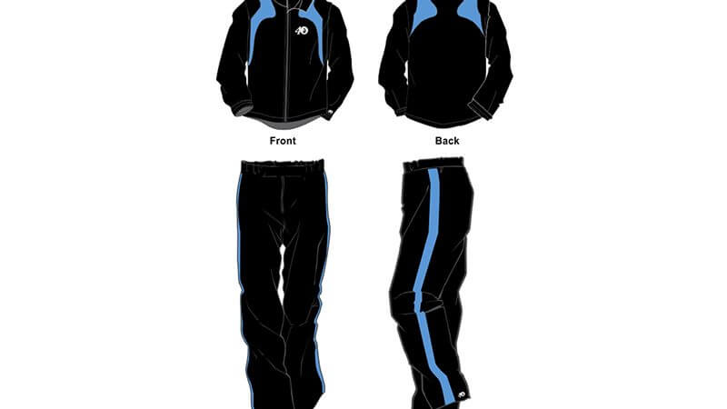 black with light blue detailing sweat pants and hoodie set