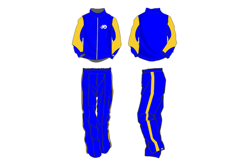 blue with yellow detailing sweat pants and hoodie set