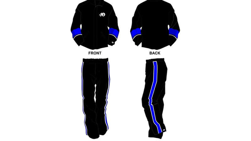 black with blue detailing sweat pants and hoodie set