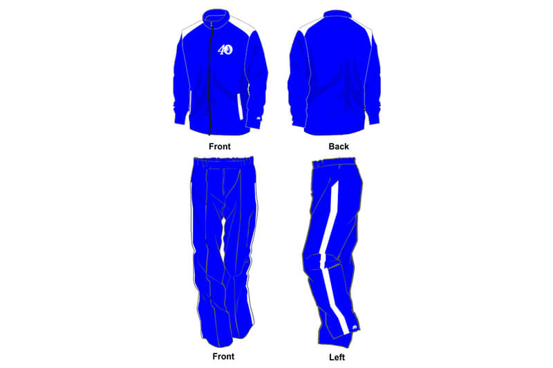 blue and white sweat pants and hoodie set