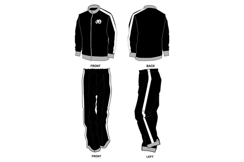black with white and grey detailing sweat pants and hoodie set