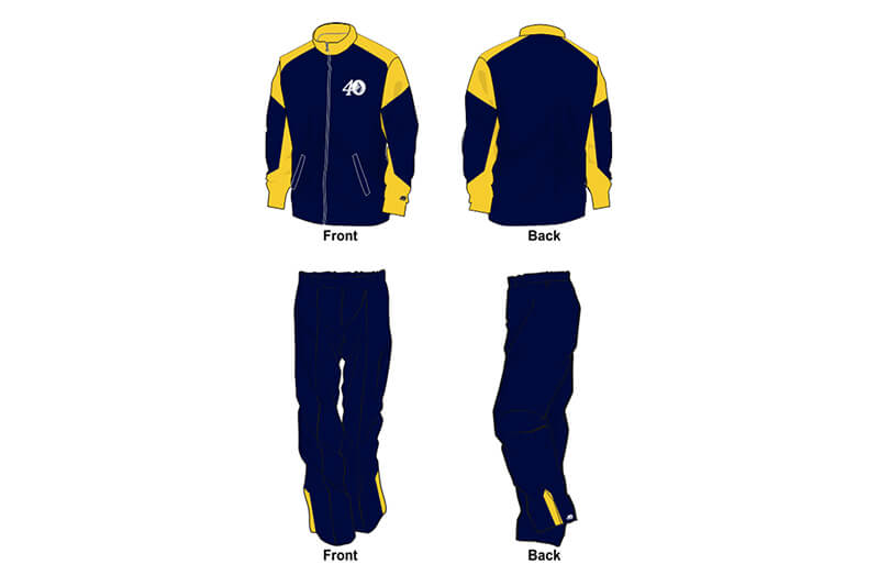 navy and yellow sweat pants and hoodie set