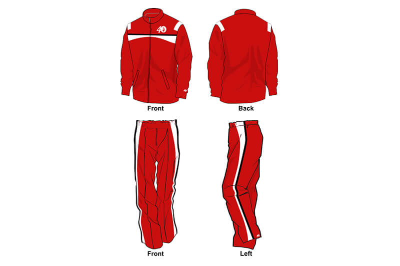 red with white and black detailing sweat pants and hoodie set