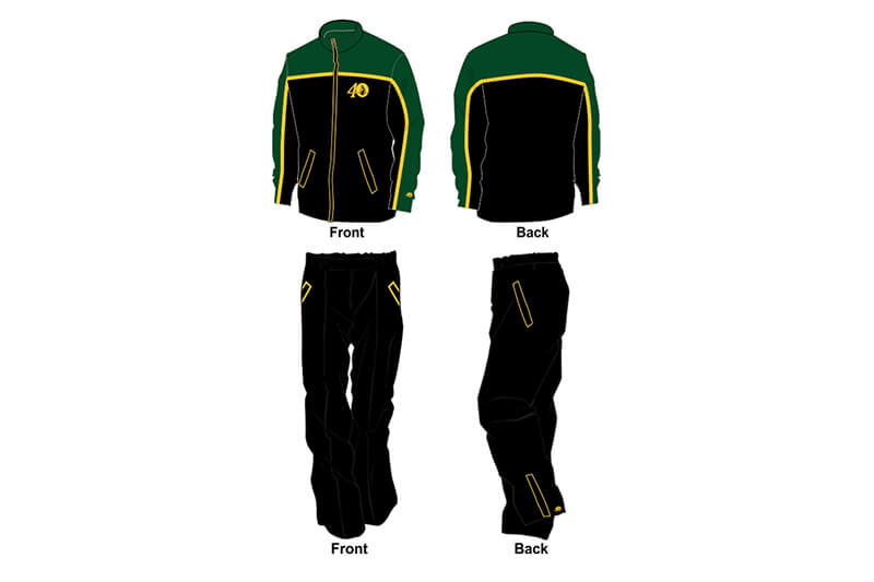 black with yellow and green detailing sweat pants and hoodie set