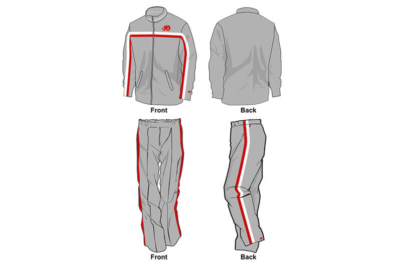 grey with red and white detailing sweat pants and hoodie set