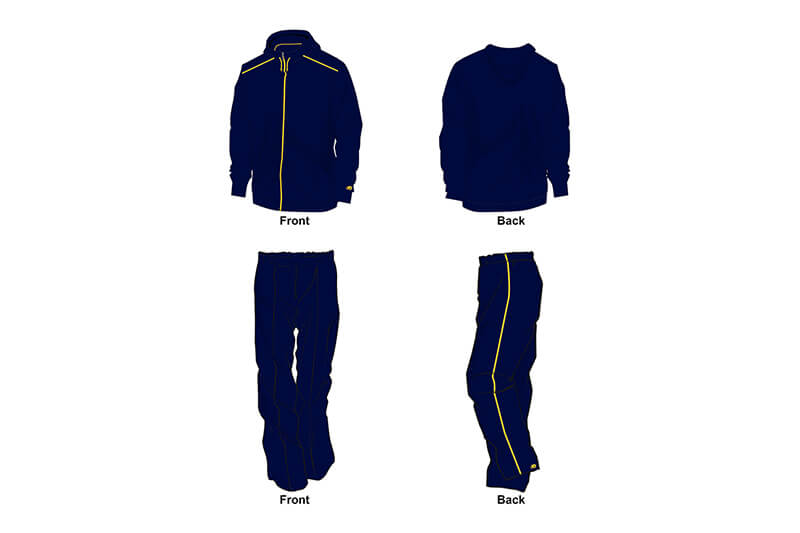 navy with yellow detailing sweat pants and hoodie set
