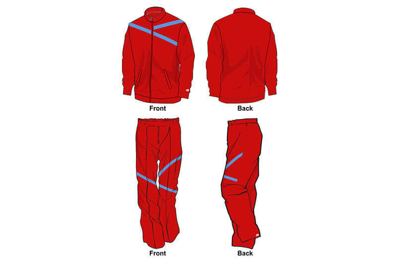 Red and light blue sweat pants and hoodie set