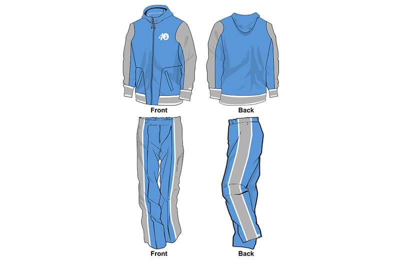 sweat pants and hoodie set light blue and grey
