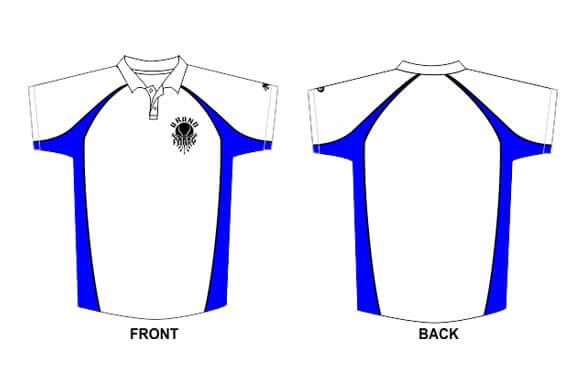 white polo design with black and blue detailing