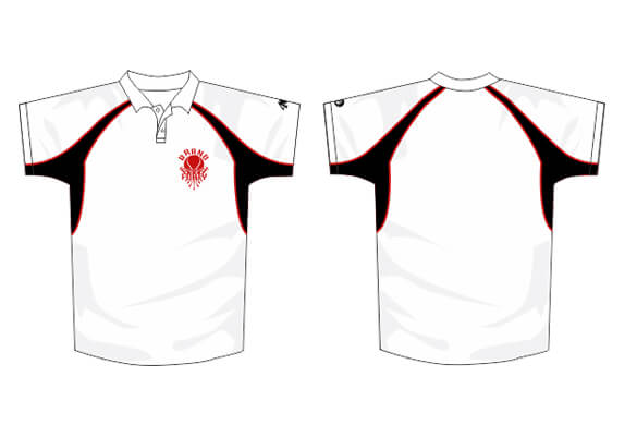 white polo design with black and red detailing