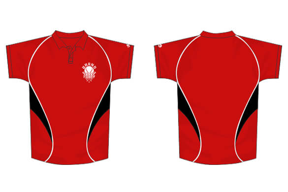 Red polo design with black and white detailing