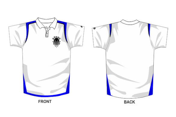polo illustration with logo on the left side of the chest and colorful detailing along the hems