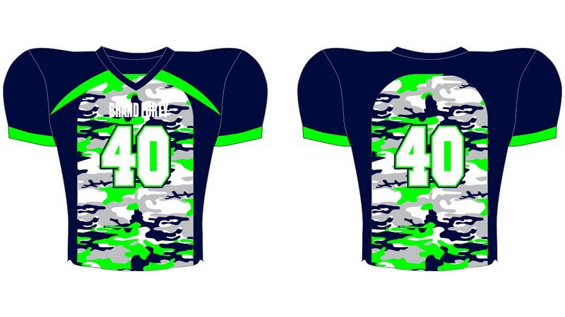 navy, grey, and green jersey