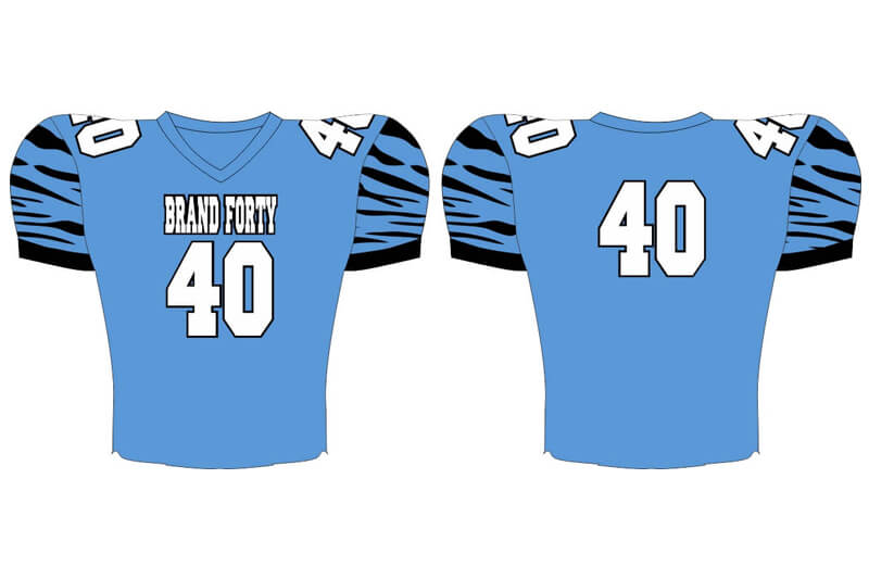 light blue with black striped sleeves