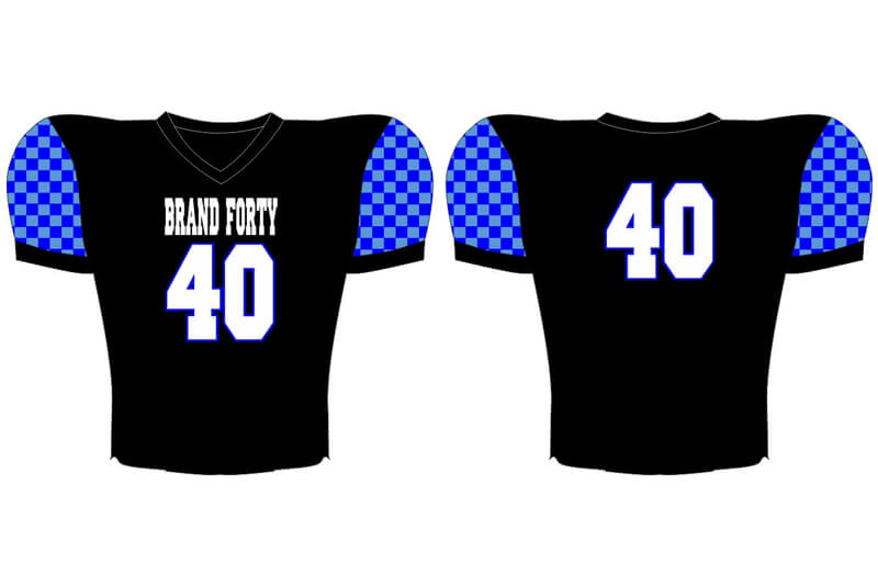 black with blue sleeves