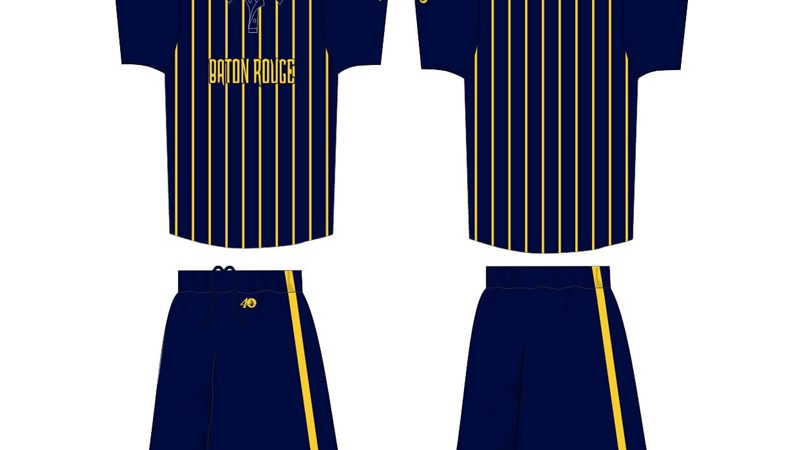 navy with yellow stripes uniform