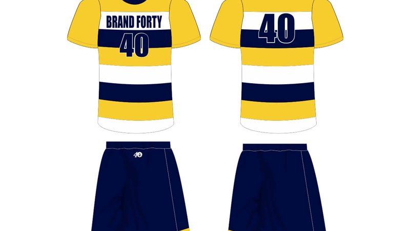 white, navy, and yellow stripe uniform