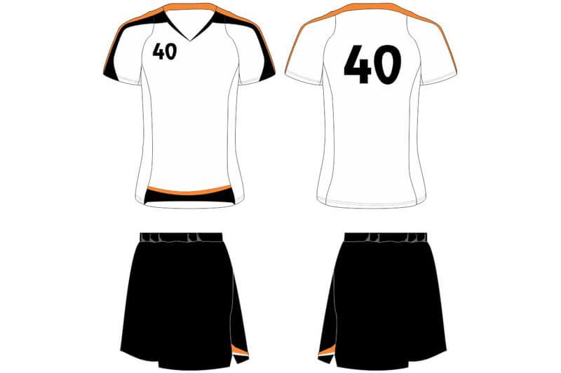 white shirt with black shorts uniform