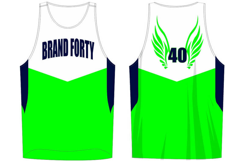 green and white sleeveless jersey